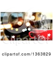 Clipart Of A 3d Hot Cup Of Coffee Over Flares And A Blurred Interior Royalty Free Illustration