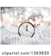 Clipart Of A 3d White Man Wearing A Santa Hat By A New Year Clock In The Snow Royalty Free Illustration