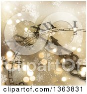 Clipart Of A 3d Decorative Wall Clock Approaching Midnight Over Gold With Snowflakes Royalty Free Illustration