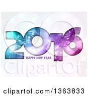 Happy New Year 2016 Greeting With Gradient Colors And Music Notes Over Flares