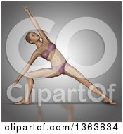 Clipart Of A 3d Fit Caucasian Woman In A Yoga Pose On Gray Royalty Free Illustration