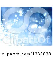 Clipart Of A Christmas Background Of Sparkly Lights On Blue Royalty Free Vector Illustration