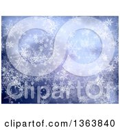Blue Christmas Winter Background Of Snowflakes