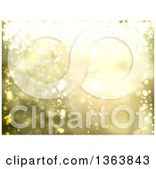 Clipart Of A Christmas Background Of Bright Lights On Gold Royalty Free Vector Illustration