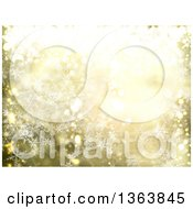 Background Of Snowflakes And Flares On Gold