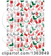 Seamless Christmas Background Of Gray Red And Green Holiday Items