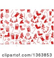 Clipart Of A Seamless Christmas Background Of Red Holiday Items Royalty Free Vector Illustration by vectorace