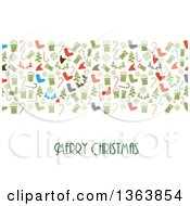 Merry Christmas Greeting Under Holiday Icons On White