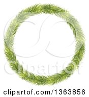 Thin Christmas Wreath Made Of Green Fir Tree Branches