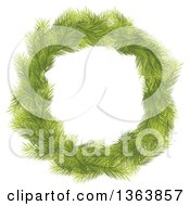 Christmas Wreath Made Of Green Fir Tree Branches