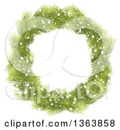 Christmas Wreath Made Of Green Fir Tree Branches And Snow
