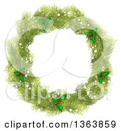 Clipart Of A Christmas Wreath Made Of Green Fir Tree Branches Snow And Holly Royalty Free Vector Illustration