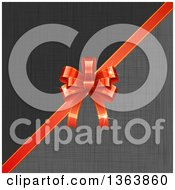 Clipart Of A 3d Shiny Red Gift Bow Over Gray And Black Linen Royalty Free Vector Illustration