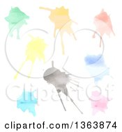 Clipart Of Watercolor Paint Splatters Royalty Free Vector Illustration