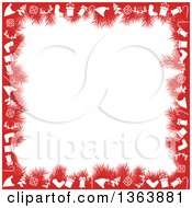 Christmas Background Of Red Fir Branches And Holiday Items Framing White Text Space