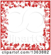 Christmas Background Of Red Fir Branches And Festive Items Framing White Text Space