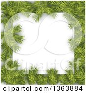 Christmas Background Of Fir Branches Framing White Text Space