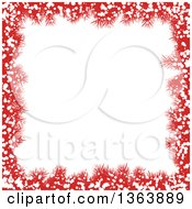Christmas Background Of Red Fir Branches And Snow Framing White Text Space