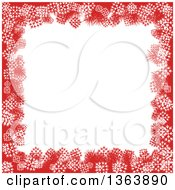 Red And White Christmas Winter Background Of Snowflakes And Text Space