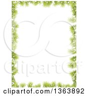 Christmas Background Of Fir Branches And Snow Framing White Text Space