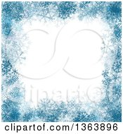 Blue Christmas Winter Border Of Snowflakes And Text Space