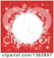 Clipart Of A Christmas Winter Background Of Snowflakes And Round Circular Text Space Royalty Free Vector Illustration by vectorace