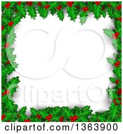 Clipart Of A Christmas Background Of Holly And Berries Framing White Text Space Royalty Free Vector Illustration by vectorace
