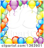 Clipart Of A Border Frame Of Colorful Party Balloons Royalty Free Vector Illustration