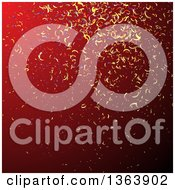 Clipart Of A Background Of Colorful Party Confetti On Red Royalty Free Vector Illustration by vectorace