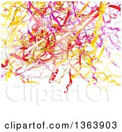 Clipart Of A Background Of Colorful Party Confetti Or Ribbons On White With Text Space Royalty Free Vector Illustration by vectorace