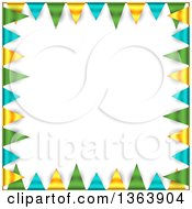 Clipart Of A Party Background Border Of Green Blue And Yellow Bunting Flags And Shading Around Text Space Royalty Free Vector Illustration