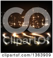 Clipart Of A Background Of Golden Firework Sparkly Lights And Reflections Royalty Free Vector Illustration