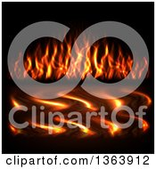 Clipart Of A Background Of Flames And Reflections On Water Royalty Free Vector Illustration