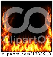 Clipart Of A Background Border Of Flames On Black Royalty Free Vector Illustration