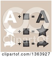 Clipart Of Flat And Stitched Letter A Star And Arrow Design Elements On Beige Royalty Free Vector Illustration by vectorace