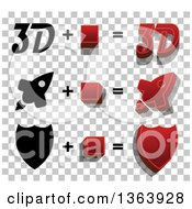 Clipart Of 3d And Flat Designed Rockets And Shields Over A Checkered Pattern Royalty Free Vector Illustration