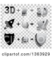 3d And Flat Designed Rockets And Shields Over A Checkered Pattern