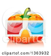 Clipart Of A Pumpkin Wearing 3d Glasses Royalty Free Vector Illustration by vectorace