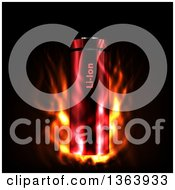 3d Lithium Icon Battery In Fire On Black