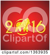 Clipart Of A 3d Gold 2016 New Year And Monkey Design On Red Royalty Free Vector Illustration