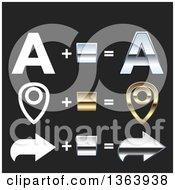 Clipart Of Flat And 3d Chrome And Gold Letter A Pin And Arrow Design Elements On Black Royalty Free Vector Illustration by vectorace