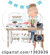 Happy Dirty Blond Caucasian Woman Selling Cake Pops