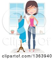Happy Brunette Caucasian Female Fashion Designer Holding Scissors By A Dress On A Mannequin