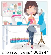 Happy Brunette Caucasian Female Fashion Designer Sewing A Dress