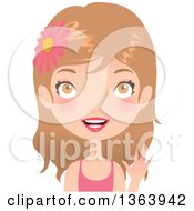 Clipart Of A Dirty Blond Caucasian Woman Wearing A Flower In Her Hair And Waving Royalty Free Vector Illustration