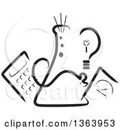 Clipart Of A Black And White Science Beaker Mouse Light Bulb Scale And Calculator Royalty Free Vector Illustration