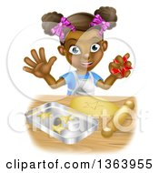 Clipart Of A Cartoon Happy Black Girl Holding A Cutter And Making Star Cookies Royalty Free Vector Illustration by AtStockIllustration