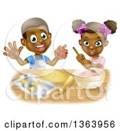 Clipart Of A Cartoon Happy Black Girl And Boy Making Frosting And Making Star Cookies Royalty Free Vector Illustration by AtStockIllustration