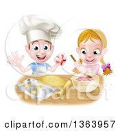 Clipart Of A Cartoon Happy White Girl And Boy Making Frosting And Star Cookies Royalty Free Vector Illustration by AtStockIllustration