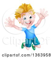 Clipart Of A Cartoon Happy Excited White Boy Jumping Royalty Free Vector Illustration by AtStockIllustration